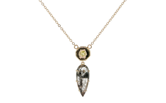 KUTTARA Necklace in Yellow Gold with 1.78 Salt and Pepper Diamond