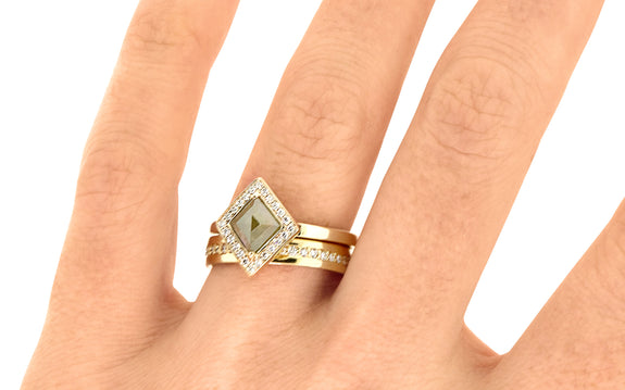 .82 Carat Light Green Diamond Ring with Diamond Halo in Yellow Gold