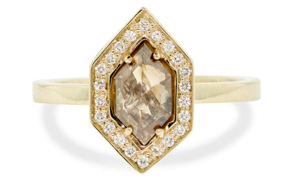 Champagne Hexagon Diamond Ring front view