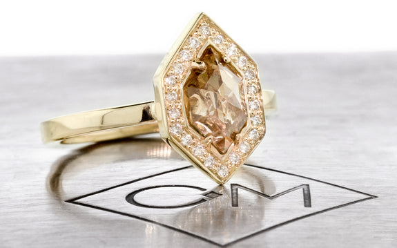 Champagne Hexagon Diamond Ring side view on logo