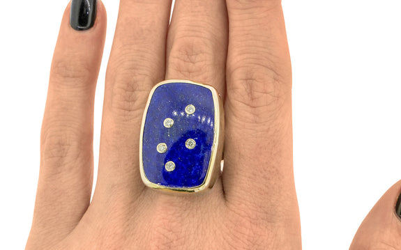 Diamond Studded Lapis Lazuli Ring side view on logo