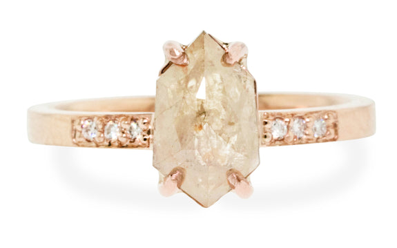 1.72 Carat Warm Gray Diamond Ring in Rose Gold