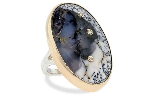 Diamond Studded Dendritic Opal Ring cm00608