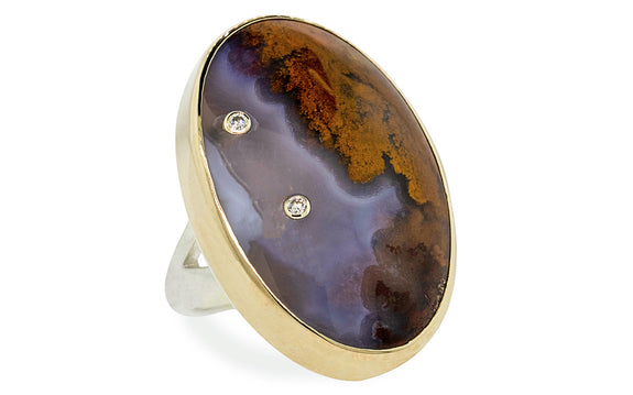Diamond Studded Picture Agate Ring rotating view