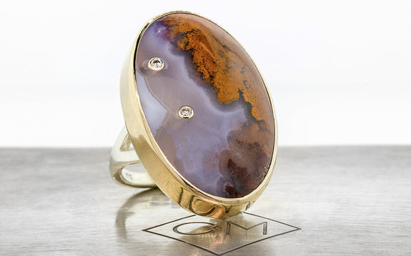 Diamond Studded Picture Agate Ring side view