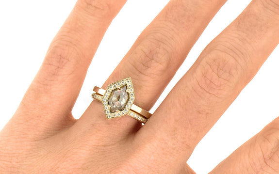 Champagne Hexagon Diamond Ring worn on hand