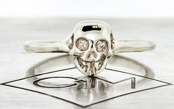 Diamond & Garnet Skull Ring front view