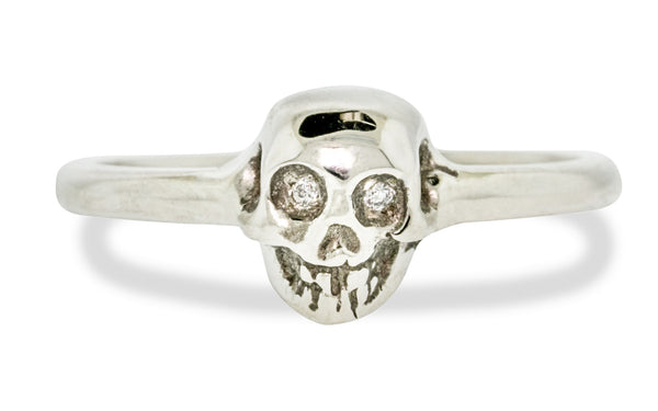 Diamond & Garnet Skull Ring 360 rotating view
