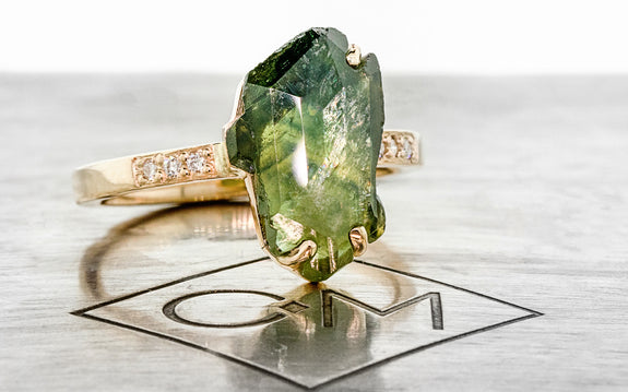 3.86 Carat Hand-Cut Green Sapphire Ring in Yellow Gold