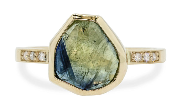 3 Carat Hand-Cut Parti Sapphire Ring in Yellow Gold