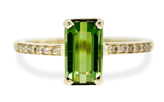 1.73 Carat Green Tourmaline Ring rotating view