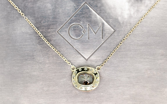 1ct Cognac Diamond Necklace & Diamond Halo on logo