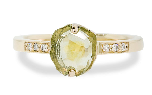 1.38 Carat Green/Golden Hand-Cut Montana Sapphire Ring in Yellow Gold