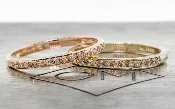 2 Wedding Band with 16 Champagne Diamonds