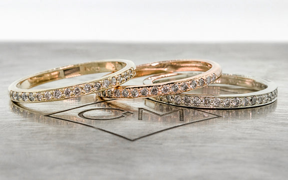 3 Wedding Bands with 16 gray Diamonds