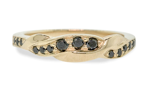 Twisted Wedding Band with Black Diamonds front view