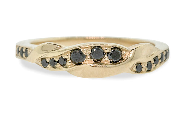 Twisted Wedding Band with Black Diamonds