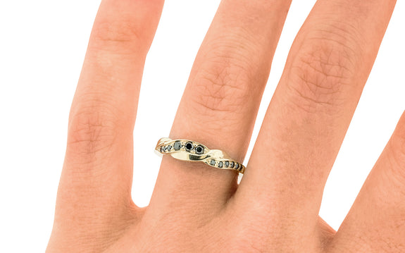 Twisted Wedding Band with Black Diamonds worn on finger