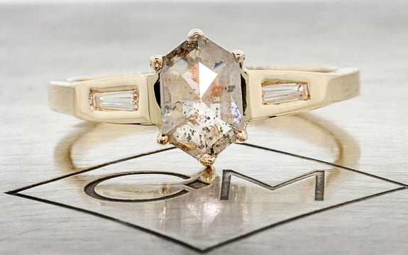 .77ct Salt & Pepper Diamond Ring front view