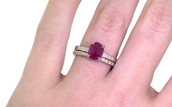 1.75ct Ruby Ring plus wedding band