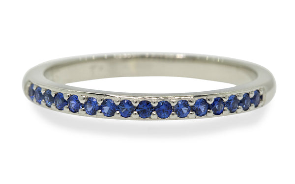 Wedding Band with 16 Blue Sapphires