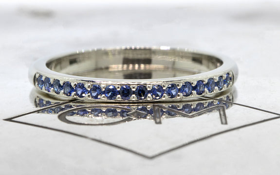 Wedding Band with 16 Blue Sapphires front view