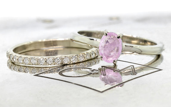 .73ct Pink Sapphire Ring side view on logo