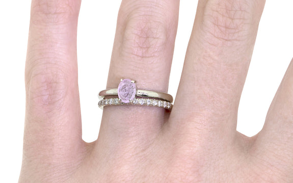 .73ct Pink Sapphire Ring with wedding band side view on logo