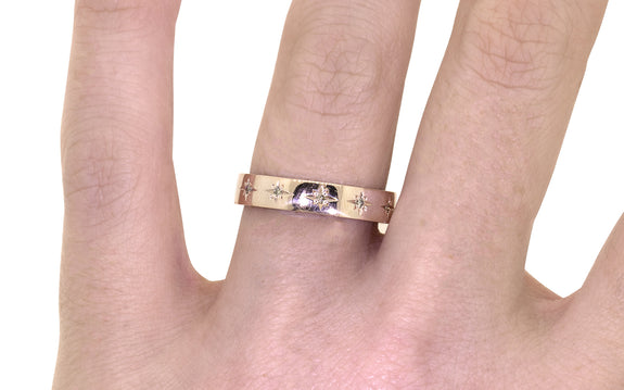 CM Star Wedding Band with Champagne Diamonds with engagement ring on logo
