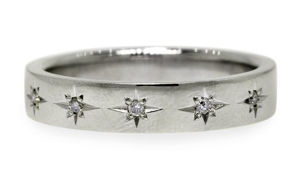 CM Star Wedding Band with Gray Diamonds modeled on a hand