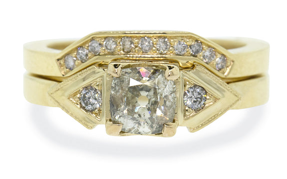 .85ct champagne diamond wedding set worn on model's hand