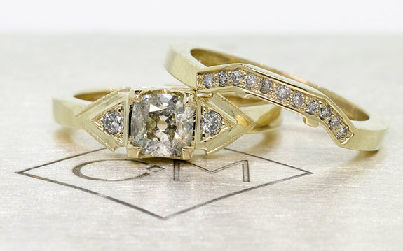 .85ct champagne diamond wedding set separate views