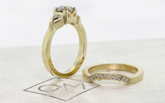 .85ct champagne diamond wedding set single piece view