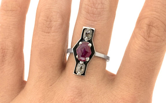 Salt & Pepper Diamond and Ruby Ring side view on logo