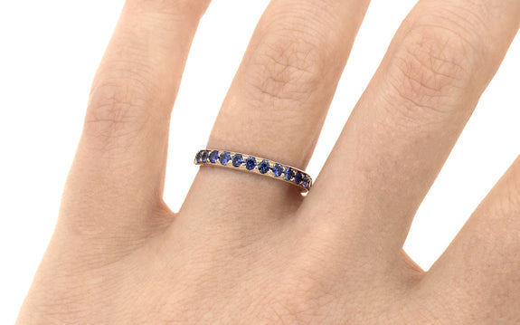 Wedding Band with 16 Blue 2mm Sapphires worn by model