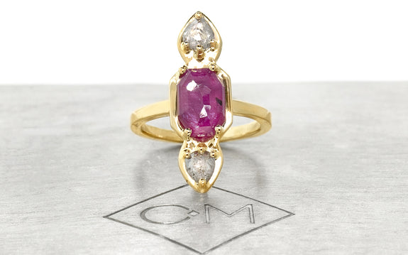 ruby & diamond ring side view