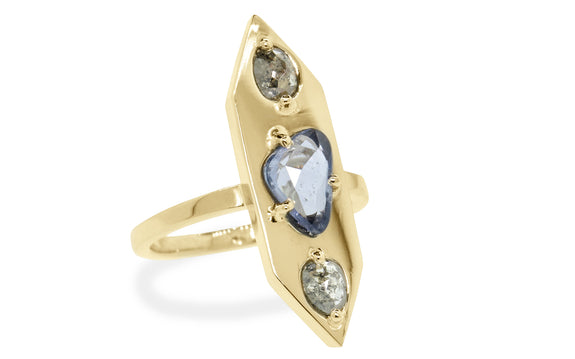 SANTORINI Ring in Yellow Gold with .48 Carat Salt and Pepper Diamonds and 1.19 Carat Sapphire