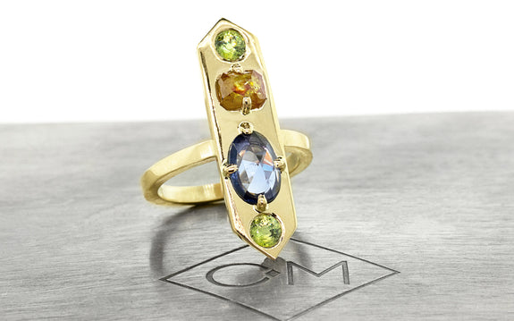 SANTORINI Ring in Yellow Gold with .87 Carat Sapphire and .43 Carat Orange Diamond