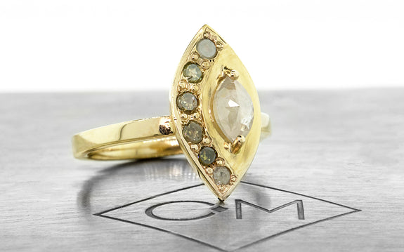 TOBA Ring in Yellow Gold with .46 Carat Rustic White Diamond