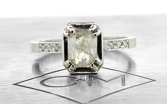 .84ct light gray diamond ring front view