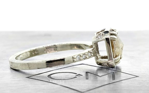 .80ct light champagne diamond ring side view on logo