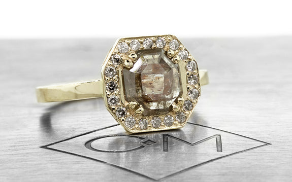 .77ct Gray/Cognac diamond ring front view on logo