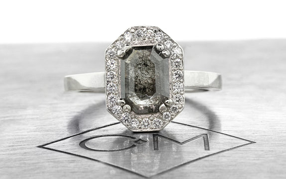 .66ct salt & pepper diamond ring front view