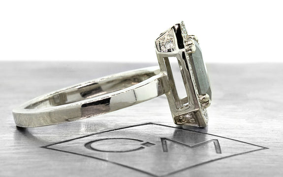 .66ct salt & pepper diamond ring side view on logo