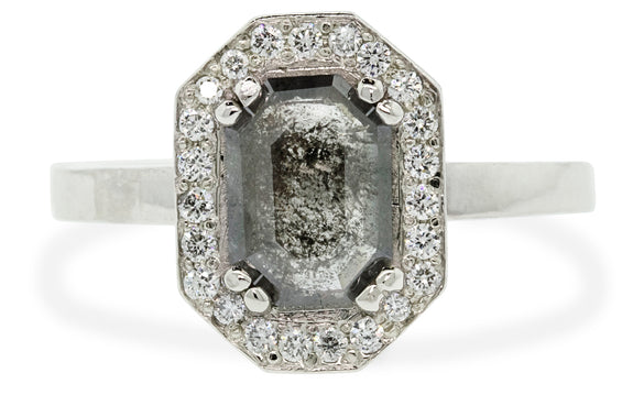 .66ct salt & pepper diamond ring rotating view