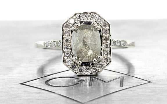 .92ct gray center diamond ring front view