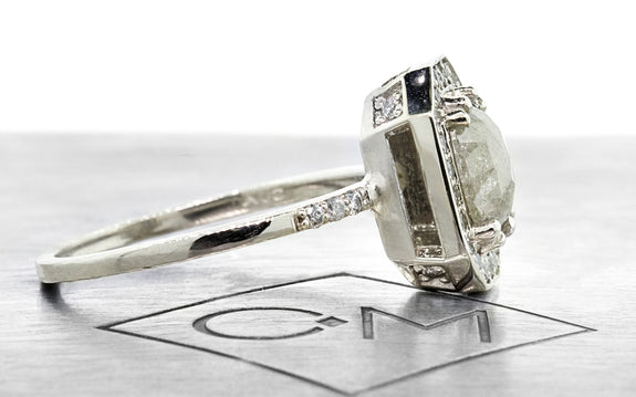 .92ct gray center diamond ring side view on logo