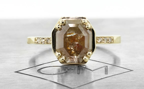 1.49ct cognac/champagne diamond ring front view
