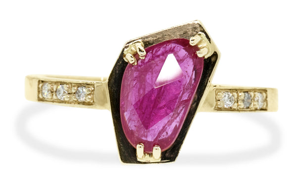 1.14ct ruby ring worn on model's hand