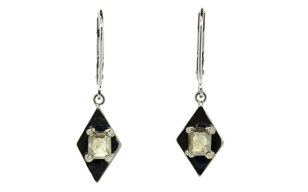 .78ct champagne diamond earrings front view